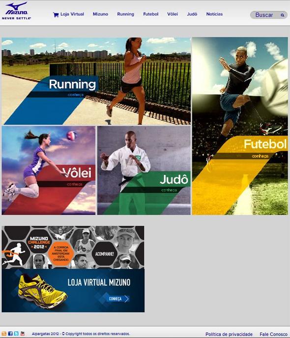Mizuno lança novo site marcando posicionamento em outros esportes ... 720efc5921cb2